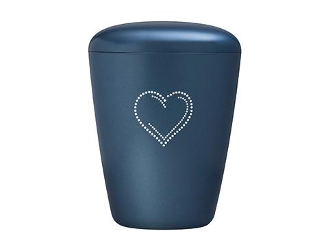 Blå hein urne med hjerte