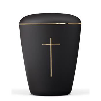 sort heim urne med kors
